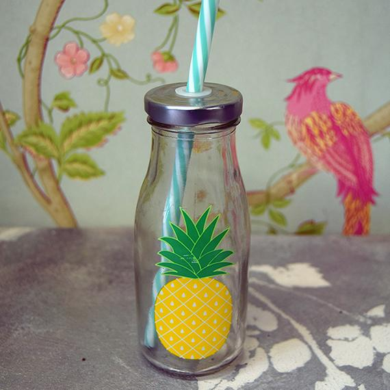 Pineapple Drink Bottle with Straw
