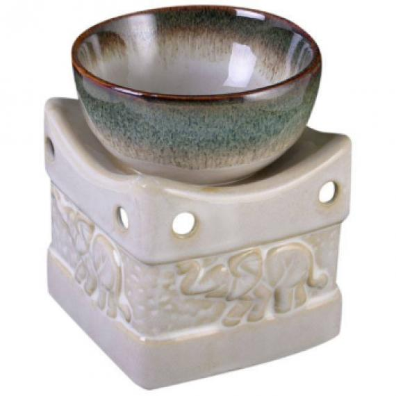 Elephant Two Toned Wax Burner with Tealights and Scented Wax Melt