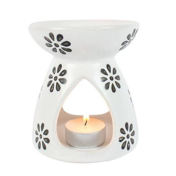 Flower Pattern Wax Burner with Tealights and Scented Wax Melt