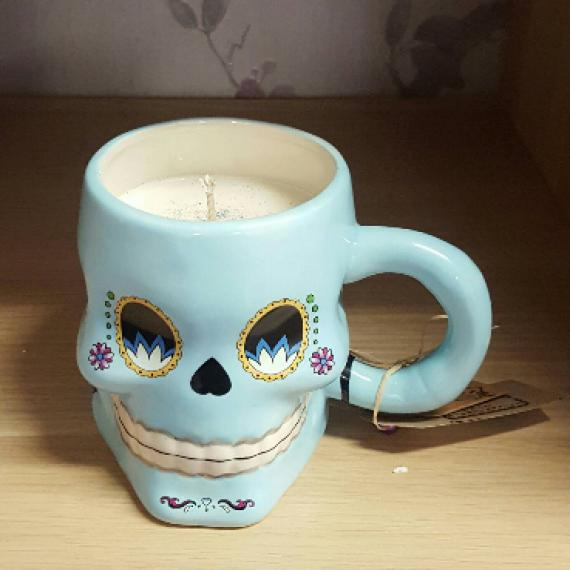 Picture of Sugar Skull Shaped Mug Candle