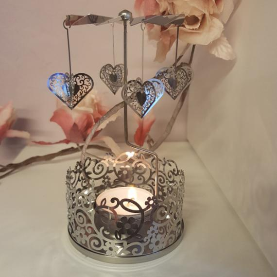 Spinning Heart Tealight Holder with Scented Tealights