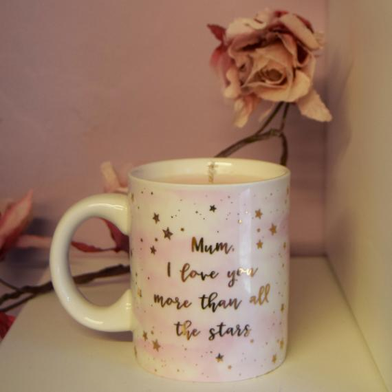 A Mum I Love You More Than All The Stars Mug Candle