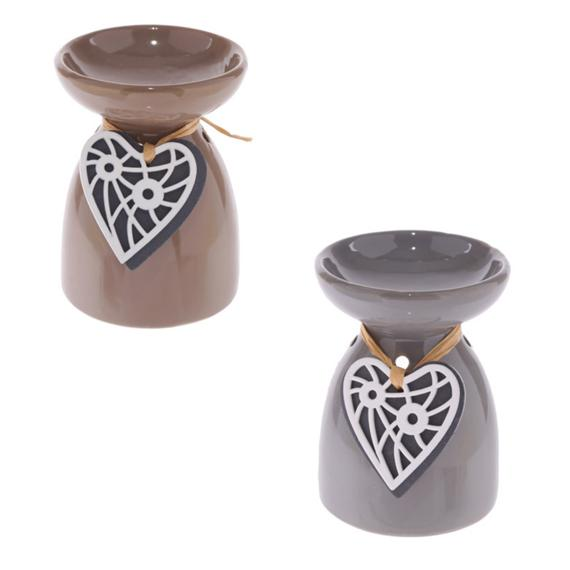 Wooden Heart Wax Burner with Tealights and Scented Wax Melt