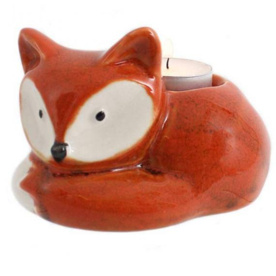 Curled Up Fox Tealight Holder with Tealights and Scented Wax Melt